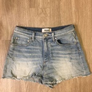 PINK high waist jean cutoff shorts